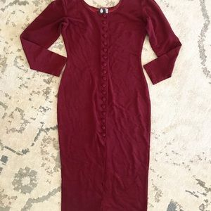 Vintage dress full button 1980 1990 ribbed midi M